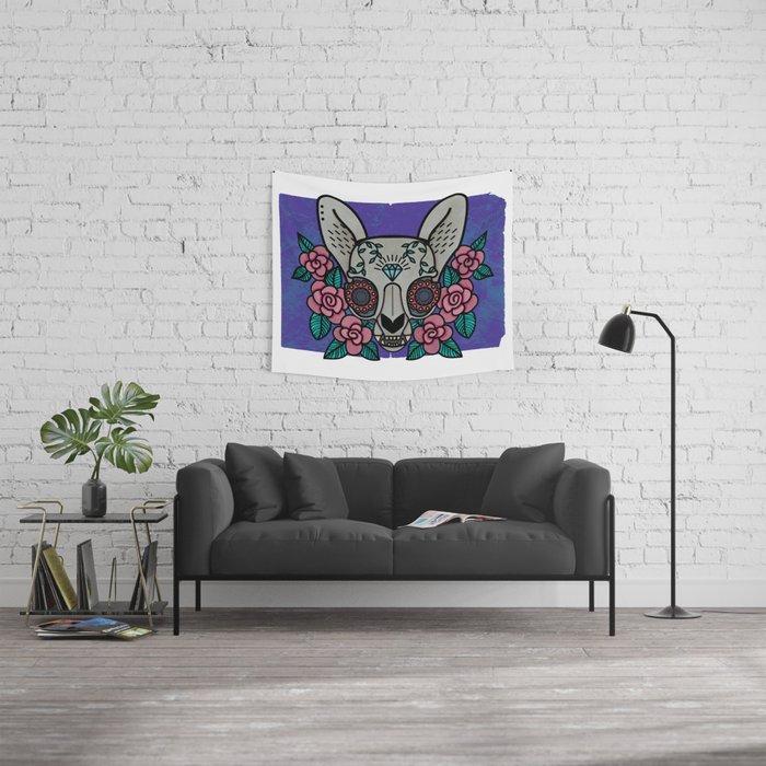 Skeleton Cat Wall Tapestry