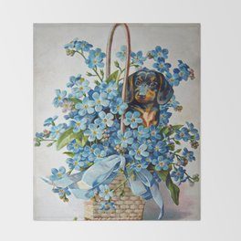 Dachshund and Forget-Me-Nots Throw Blanket