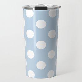 Beau blue - blue - White Polka Dots - Pois Pattern Travel Mug