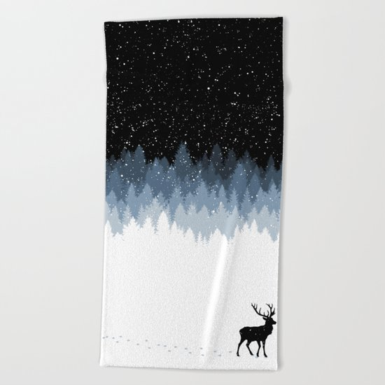Winter Night Beach Towel