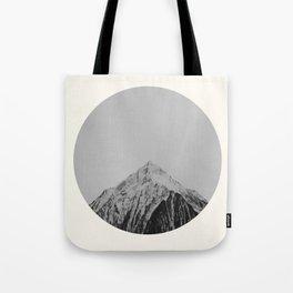 Mid Century Modern Round Circle Photo Grey Minimalist Monochrome Snow Mountain Peak Tote Bag