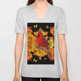 BUTTERFLIES  RED CARDINAL SUNFLOWERS BLACK ART Unisex V-Neck