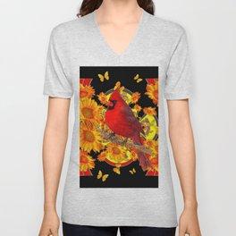 BUTTERFLIES  RED CARDINAL SUNFLOWERS BLACK ART Unisex V-Neck