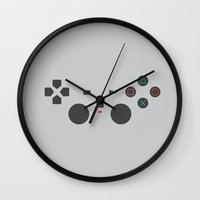 playstation Wall Clocks featuring PLAYSTATION by Gershom Charig