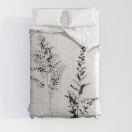 Delicate Black and White Botanical Photograph Comforters
