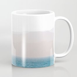 Modern Minimalist Pastel Blue Landscape Ocean Mountains Flock Of Birds Flying Coffee Mug