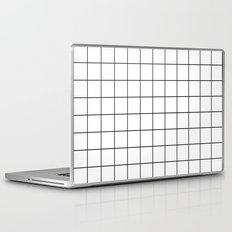White Black Grid Minimalist Laptop & iPad Skin
