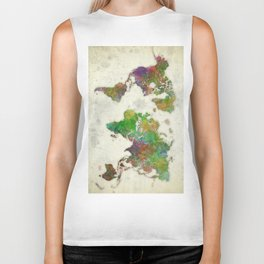 World Map Color Biker Tank