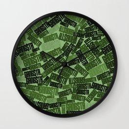 GANGSTA jungle camo / Green camouflage pattern with GANGSTA slogan Wall Clock