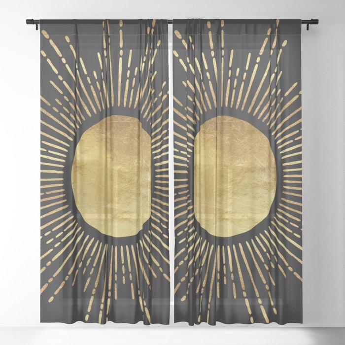 Golden Sunburst Starburst Noir Sheer Curtain
