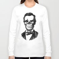 lincoln Long Sleeve T-shirts featuring Lincoln Skull by BIOWORKZ