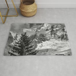 Misty Mountains. Jungfrau. 4.158 Meters. Alps. Swithzerland . BW Rug