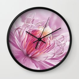 Clematis pink macro 086 Wall Clock