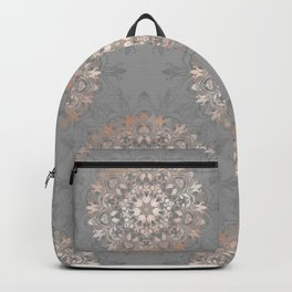 Rose Gold Gray Floral Mandala Backpack