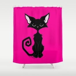 Black Cat - Hot Pink Shower Curtain
