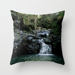 Hawaii Waterfall Throw Pillow