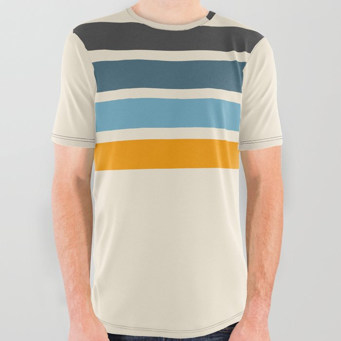 Vintage Retro Stripes All Over Graphic Tee