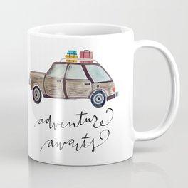 Adventure Awaits.  Watercolor and Typography.  Travel. Adventure Coffee Mug