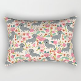 Dachshund florals grey doxie dachsie pattern with flowers cute gifts for wiener dog owners Rectangular Pillow