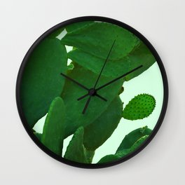 Cactus On Cyan Background Wall Clock