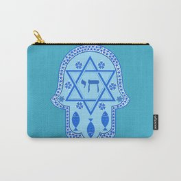 Hamsa for blessings, protection and strength - Turquoise Carry-All Pouch