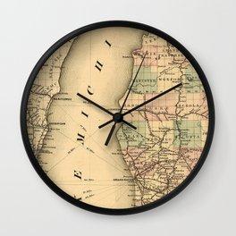 Vintage Map of Lake Michigan (1876) Wall Clock