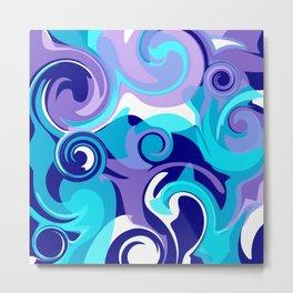 Finger Paint Swirls in Turquoise, Lavender, Purple, Navy Metal Print