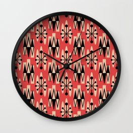 Retro Mid Century Modern Atomic Triangles 730 Red and Black Wall Clock