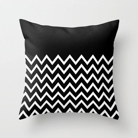 White Chevron On Black Throw Pillow by Pencil Me In