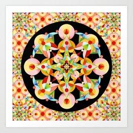 Pastel Carousel Black Circle Art Print