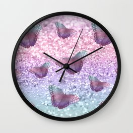 Pastel Unicorn Butterfly Glitter Dream #1 #shiny #decor #art #society6 Wall Clock