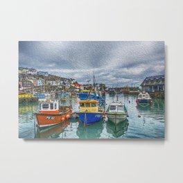 Boats in Mevagissey Harbour. Metal Print
