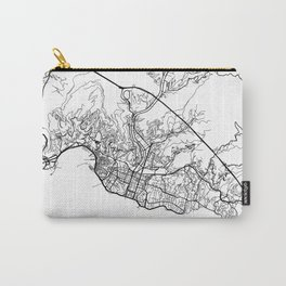 Genoa Map, Italy - Black and White Carry-All Pouch