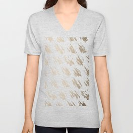 Luxe Gold Brush Polka Splotch on White Unisex V-Neck