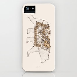 Ours Blanc - Gold iPhone Case