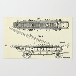 Extension Fire Ladder and Truck-1894 Rug