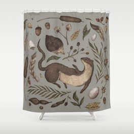 Weasel and Hedgehog Shower Curtain