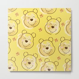 Inspired Pooh Bear surrounded with bees Pattern on Yellow background Metal Print