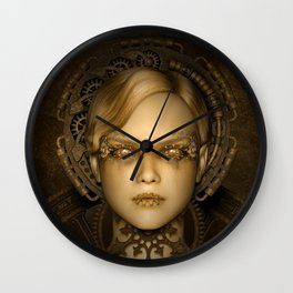 Steampunk female machine Wall Clock