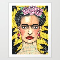 frida khalo Art Prints featuring Frida Khalo by Laura Pato