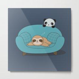 Kawaii Cute Panda And Sloth Metal Print