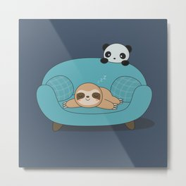 Kawaii Cute Panda And Sloth Metal Print