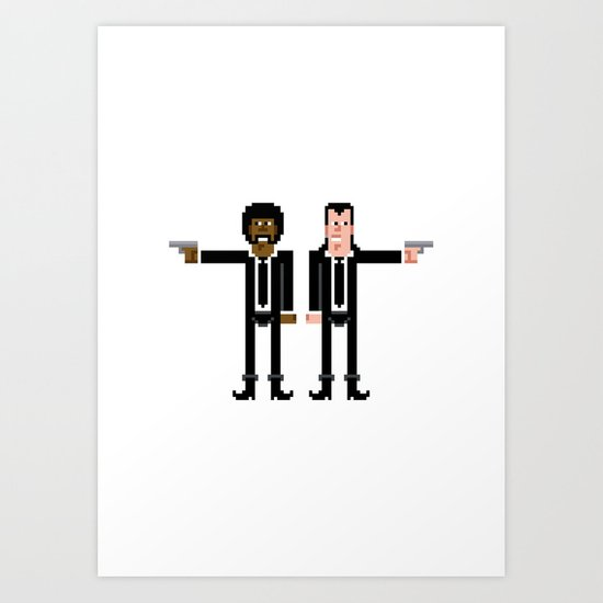 Pixel Pulp Fiction Characters Art Print