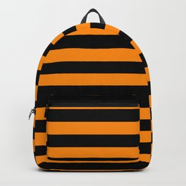 Dark Pumpkin Orange and Black Halloween Beach Hut Stripes Backpack