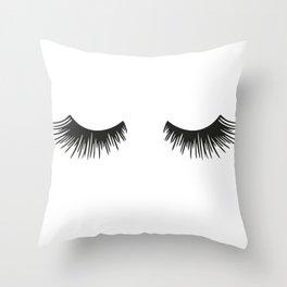 Closed Eyelashes Throw Pillow