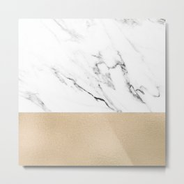 White Marble with Black and Copper Bronze Metal Print