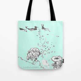 Two Tailed Duck and Jellyfish Mint Green Tote Bag