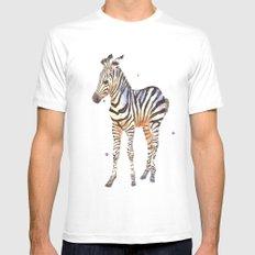 zebra, baby zebra, african wildlife, black and white, stripes, safari art White MEDIUM Mens Fitted Tee