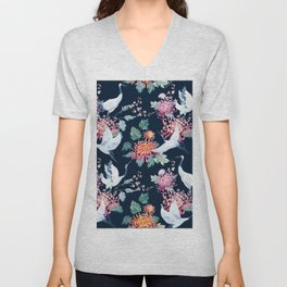 Vintage Japanese crane birds illustration pattern Unisex V-Neck