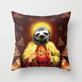 Holy Pizza Sloth Lord Jesus All over big print Animal Savior Throw Pillow